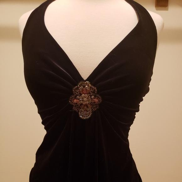 Cache Tops - Cache Velvet Halter w/ Embellishment Beads S